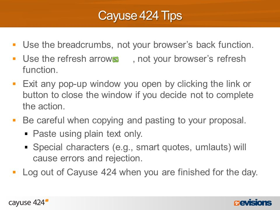  Use the breadcrumbs, not your browser's back function.
