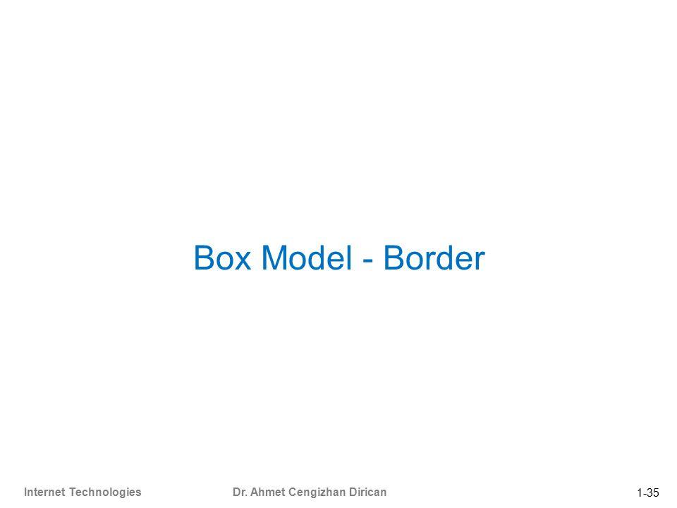 1-35 Internet Technologies Dr. Ahmet Cengizhan Dirican Box Model - Border