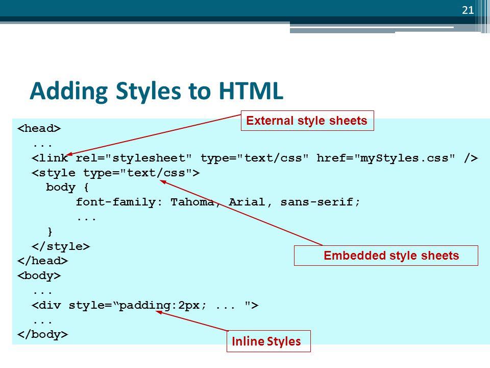 Slide 21 Adding Styles to HTML... body { font-family: Tahoma, Arial, sans-serif;...