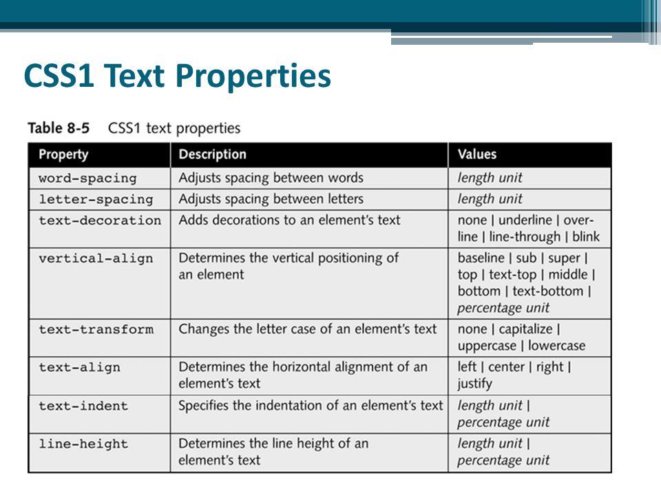 CSS1 Text Properties