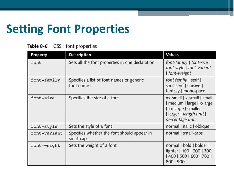 Setting Font Properties
