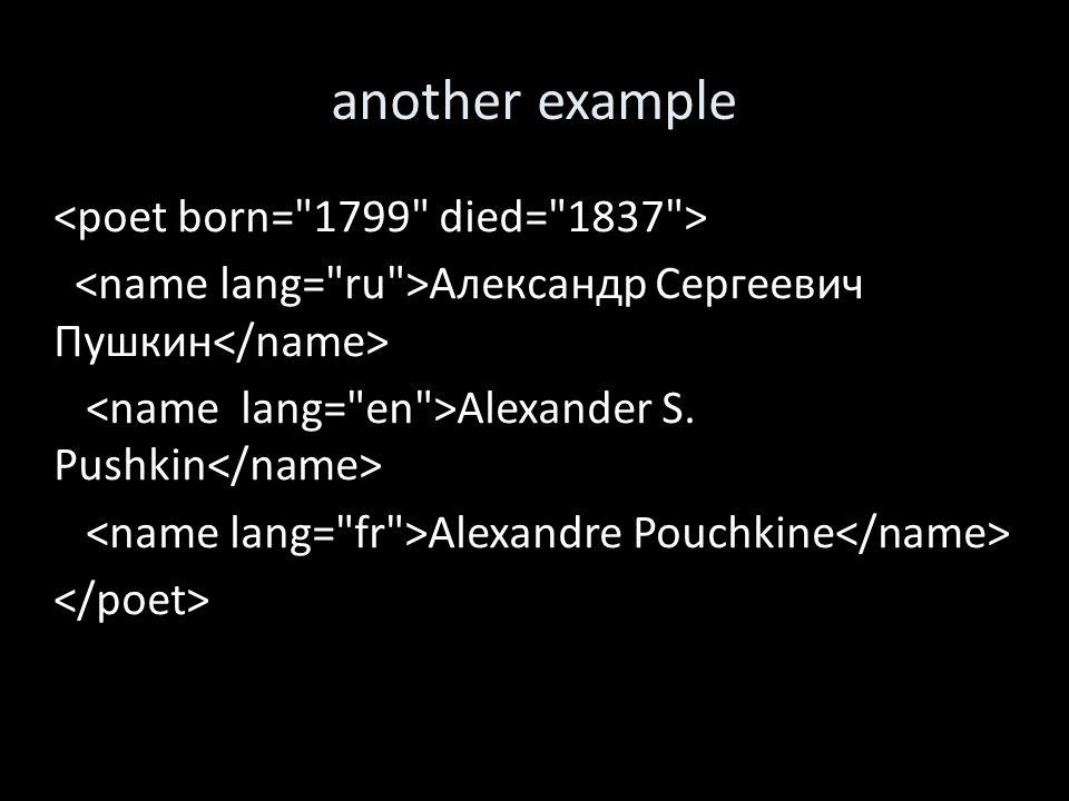 another example Александр Сергеевич Пушкин Alexander S. Pushkin Alexandre Pouchkine