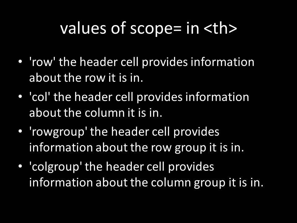 values of scope= in row the header cell provides information about the row it is in.