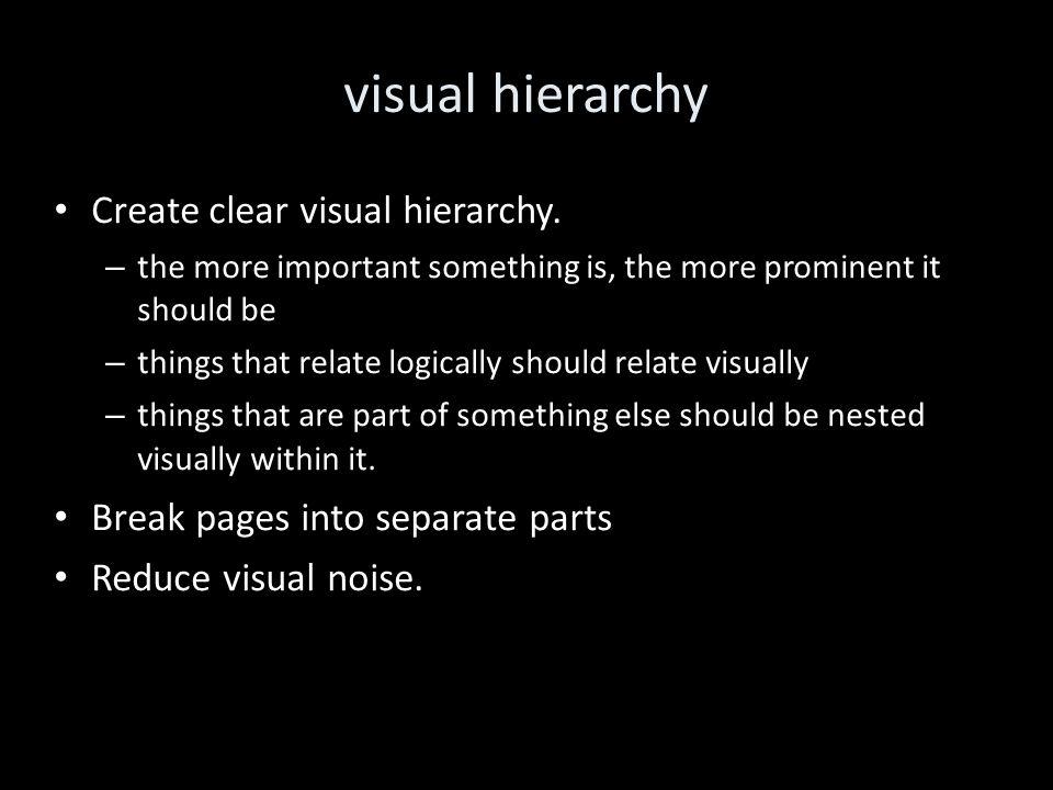 visual hierarchy Create clear visual hierarchy.