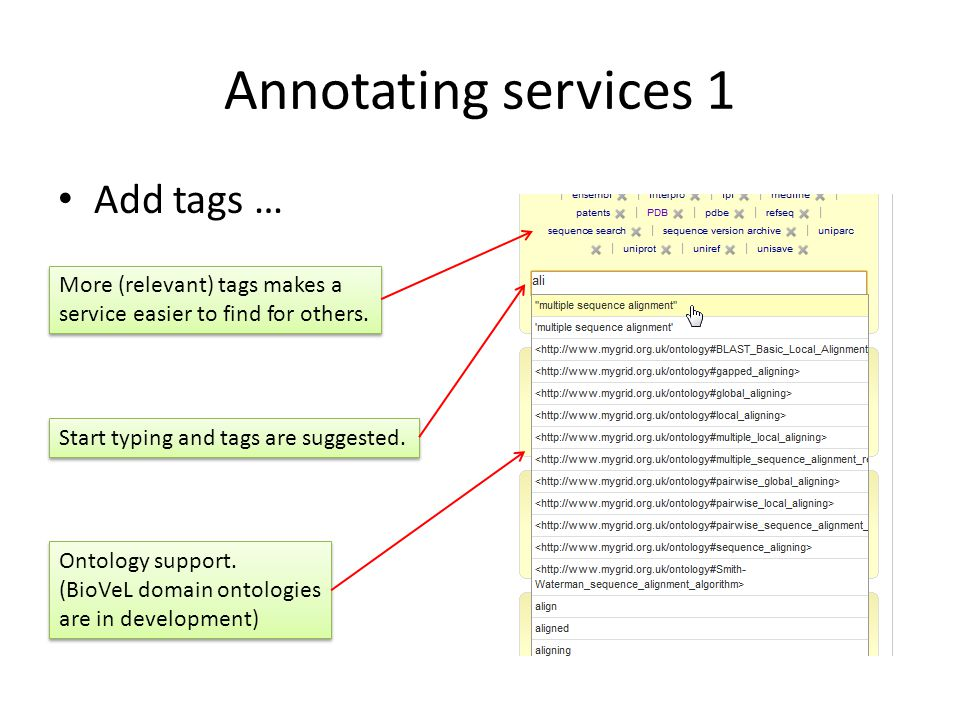 Annotating services 1 Add tags … Start typing and tags are suggested.