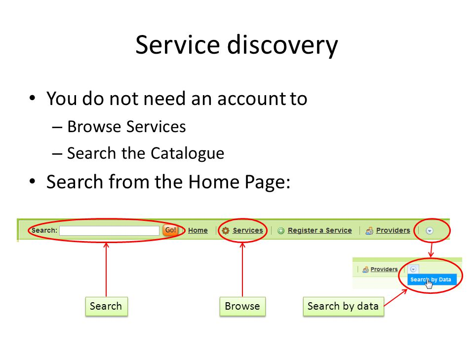 Service discovery You do not need an account to – Browse Services – Search the Catalogue Search from the Home Page: Search Browse Search by data