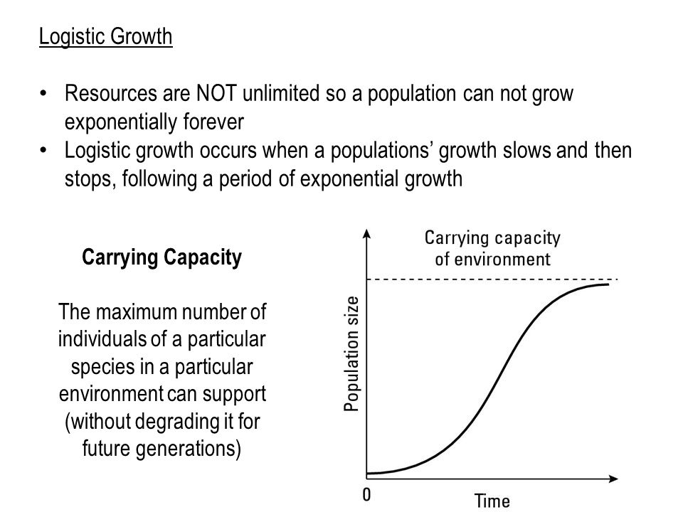 Logistic Growth Resources are NOT unlimited so a population can not grow exponentially forever Logistic growth occurs when a populations' growth slows