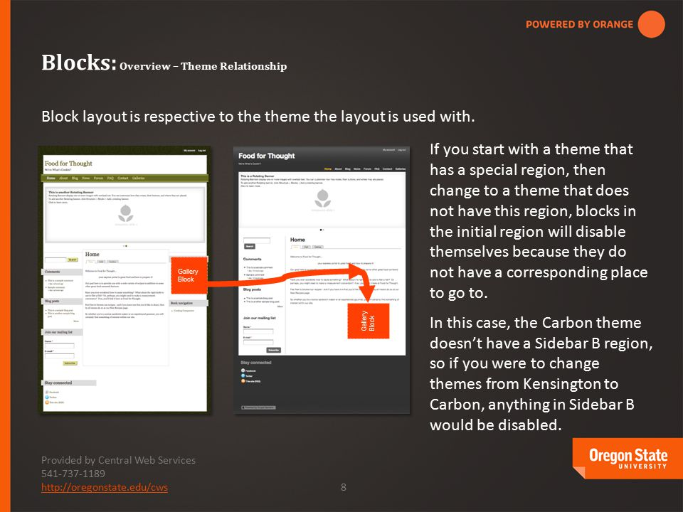 Provided by Central Web Services 541-737-1189 http://oregonstate.edu/cwshttp://oregonstate.edu/cws 8 Block layout is respective to the theme the layout is used with.