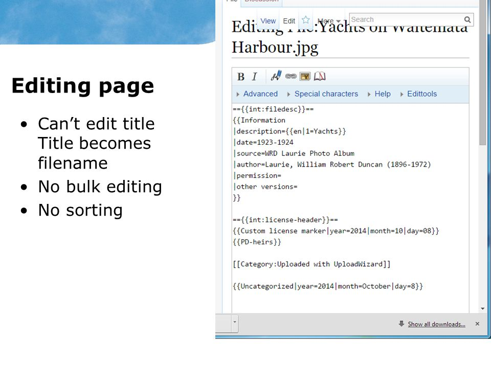 Editing page Can't edit title Title becomes filename No bulk editing No sorting