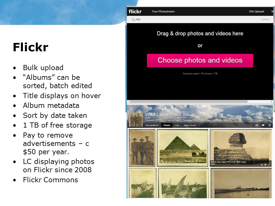 Flickr Bulk upload Albums can be sorted, batch edited Title displays on hover Album metadata Sort by date taken 1 TB of free storage Pay to remove advertisements – c $50 per year.