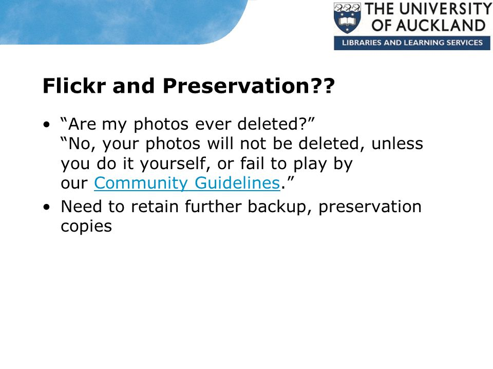 Flickr and Preservation .
