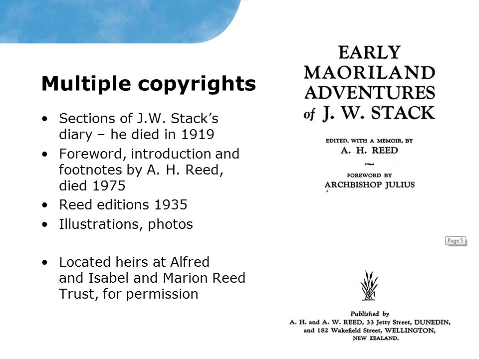 Multiple copyrights Sections of J.W.