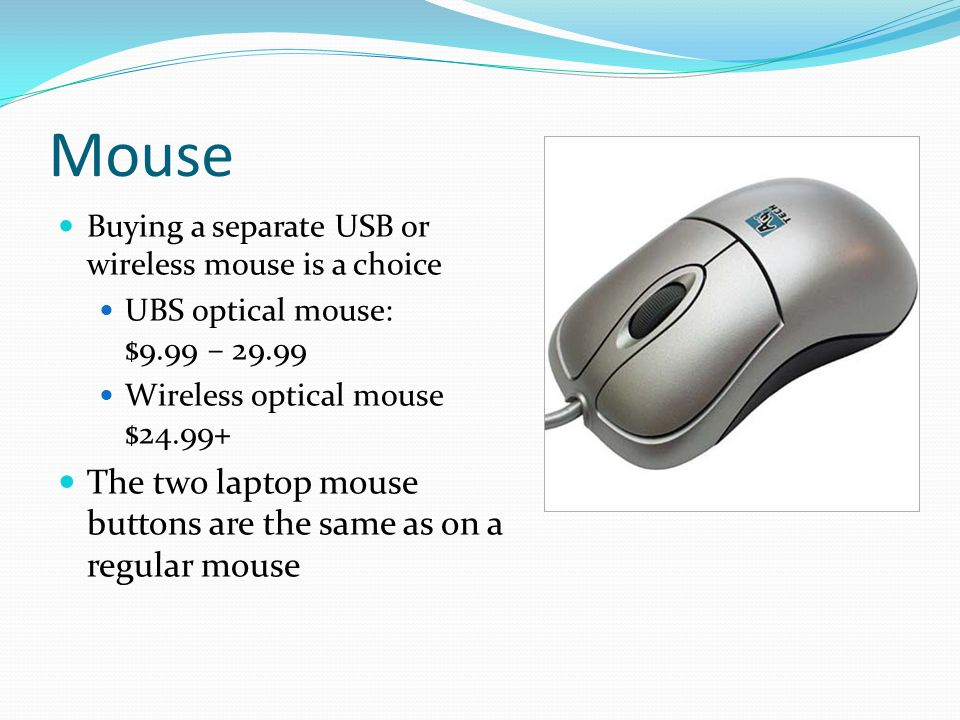 Mouse Buying a separate USB or wireless mouse is a choice UBS optical mouse: $9.99 – 29.99 Wireless optical mouse $24.99+ The two laptop mouse buttons