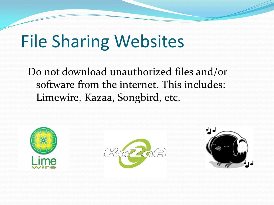 File Sharing Websites Do not download unauthorized files and/or software from the internet.