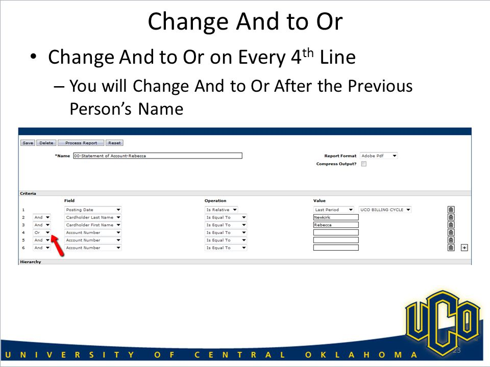 Change And to Or Change And to Or on Every 4 th Line – You will Change And to Or After the Previous Person's Name 23