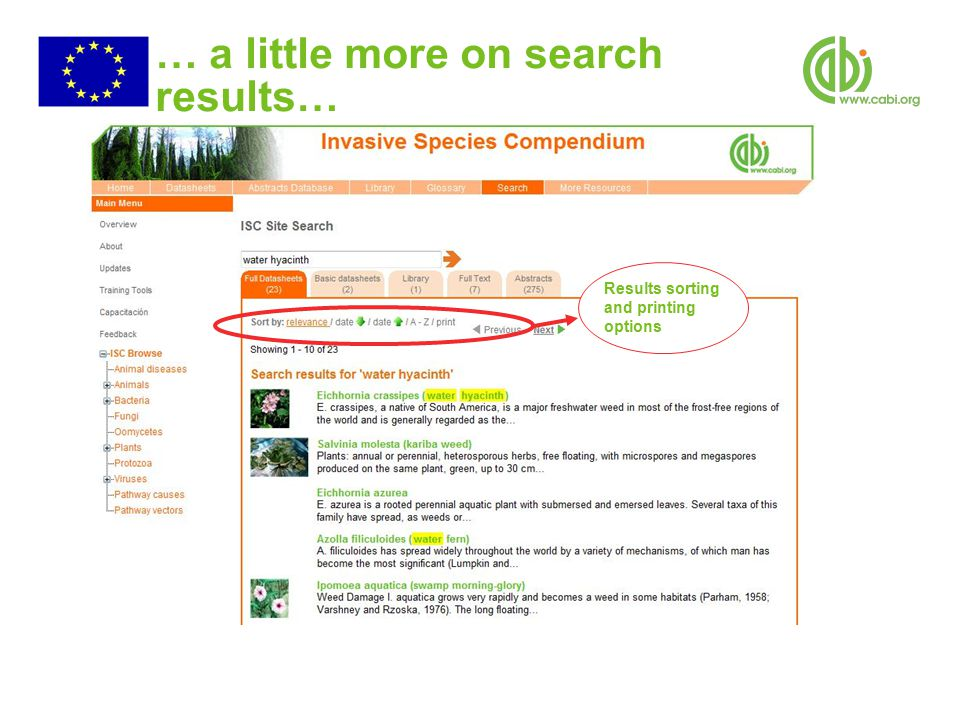 … a little more on search results… Results sorting and printing options