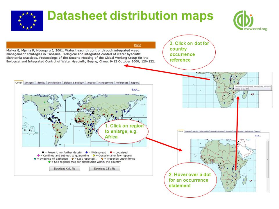 Datasheet distribution maps 1. Click on region to enlarge, e.g.