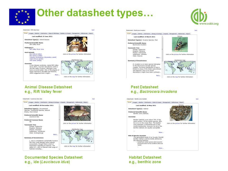 Other datasheet types… Habitat Datasheet e.g., benthic zone Pest Datasheet e.g., Bactrocera invadens Documented Species Datasheet e.g., ide (Leuciscus idus) Animal Disease Datasheet e.g., Rift Valley fever