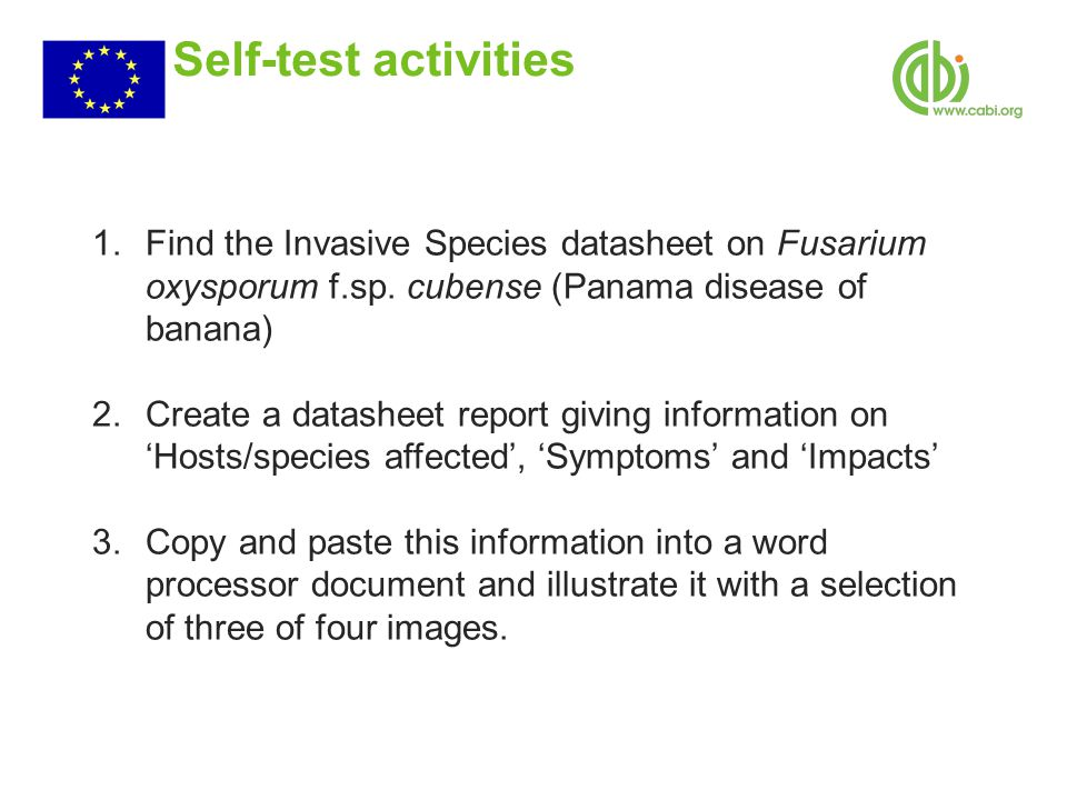 Self-test activities 1.Find the Invasive Species datasheet on Fusarium oxysporum f.sp.