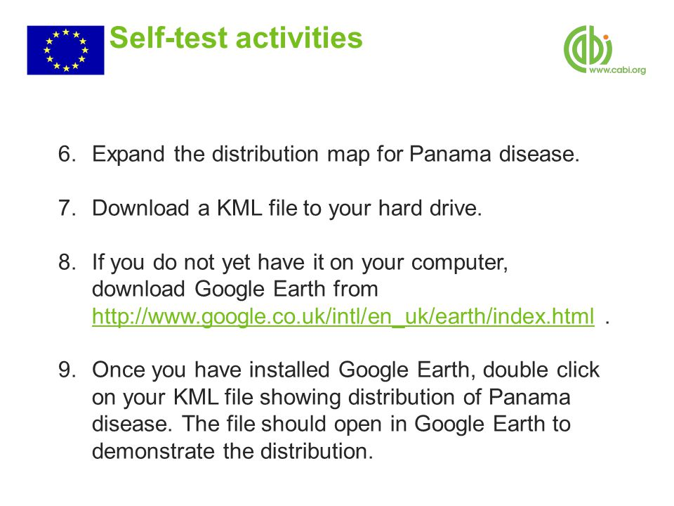 Self-test activities 6.Expand the distribution map for Panama disease.