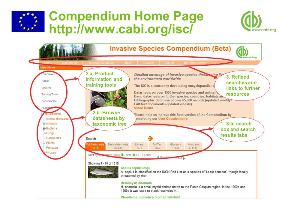 Compendium Home Page http://www.cabi.org/isc/ 1. Site search box and search results tabs 2.b.