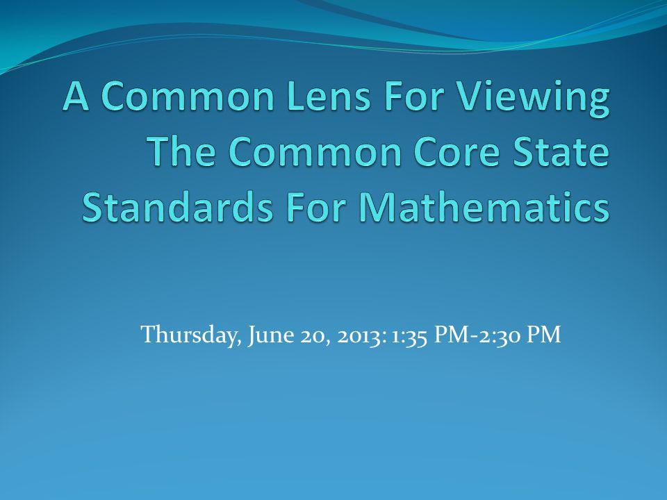 Thursday, June 20, 2013: 1:35 PM-2:30 PM