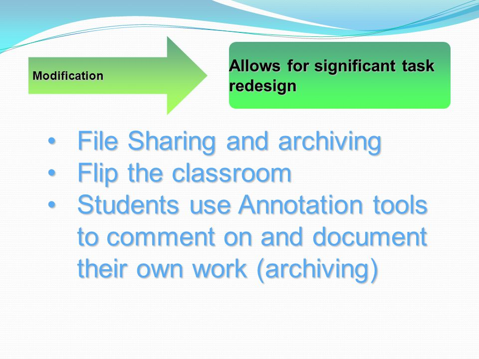 Modification Allows for significant task redesign File Sharing and archivingFile Sharing and archiving Flip the classroomFlip the classroom Students use Annotation tools to comment on and document their own work (archiving)Students use Annotation tools to comment on and document their own work (archiving)