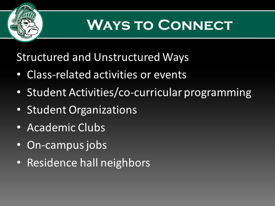 Ways to Connect Structured and Unstructured Ways Class-related activities or events Student Activities/co-curricular programming Student Organizations Academic Clubs On-campus jobs Residence hall neighbors