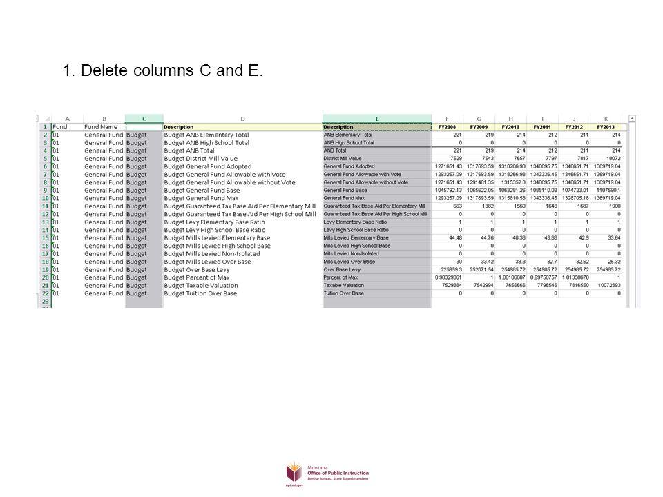 1. Delete columns C and E.