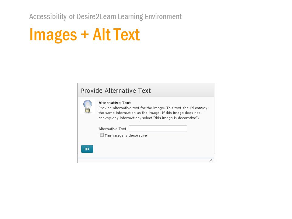 Accessibility of Desire2Learn Learning Environment Images + Alt Text