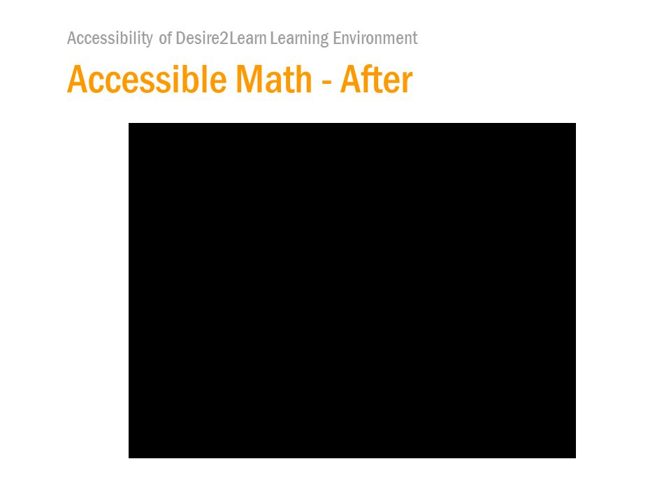 Accessibility of Desire2Learn Learning Environment Accessible Math - After