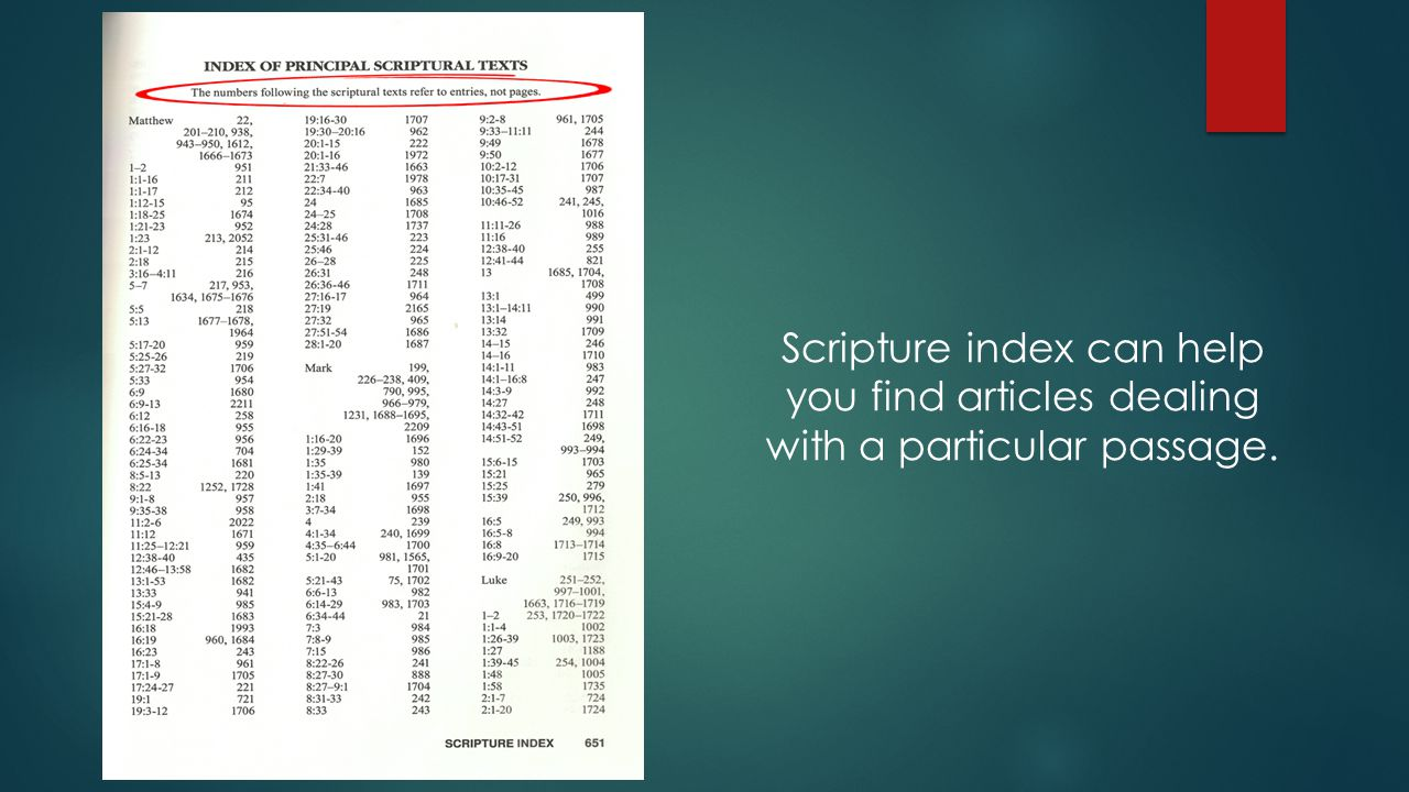 Scripture index can help you find articles dealing with a particular passage.