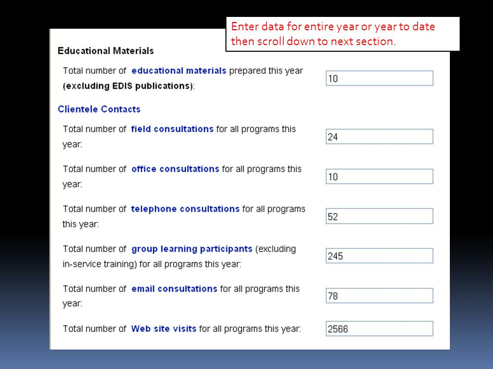 Enter data for entire year or year to date then scroll down to next section.
