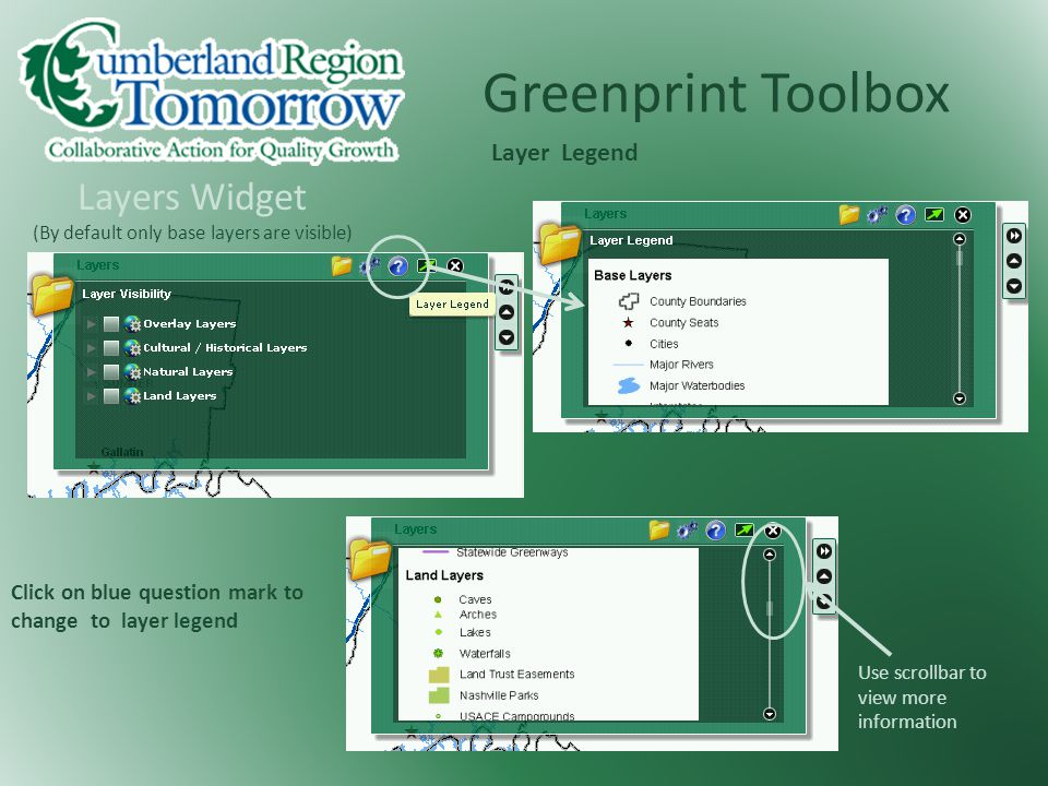 Greenprint Toolbox Layers Widget (By default only base layers are visible) Click on blue question mark to change to layer legend Layer Legend Use scrollbar to view more information