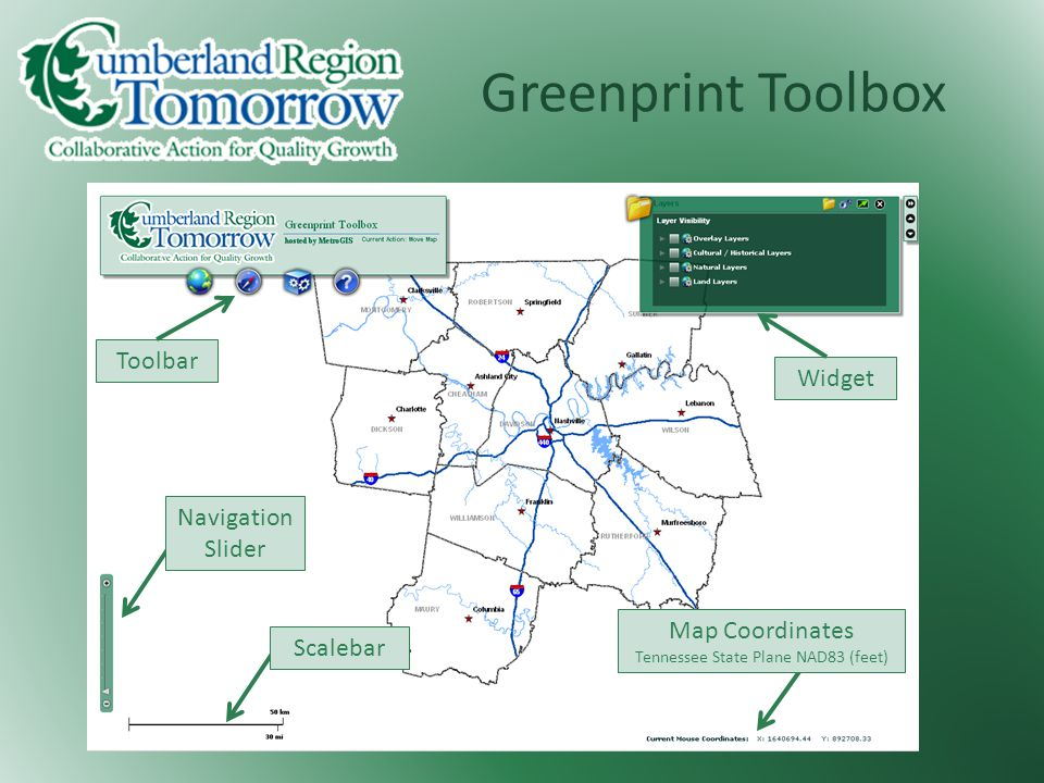 Greenprint Toolbox Toolbar Widget Navigation Slider Map Coordinates Tennessee State Plane NAD83 (feet) Scalebar