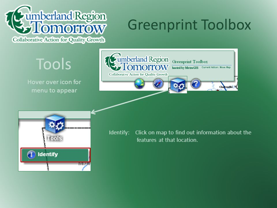Greenprint Toolbox Tools Identify: Click on map to find out information about the features at that location.