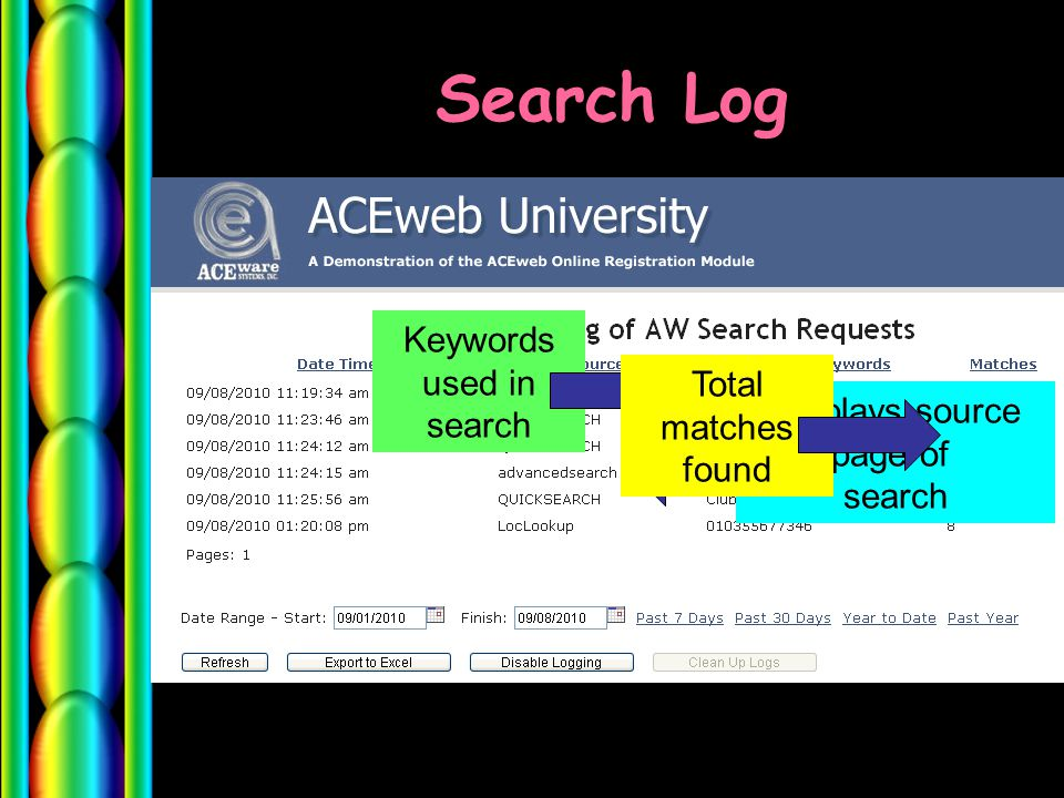 Search Log Displays source page of search Keywords used in search Total matches found