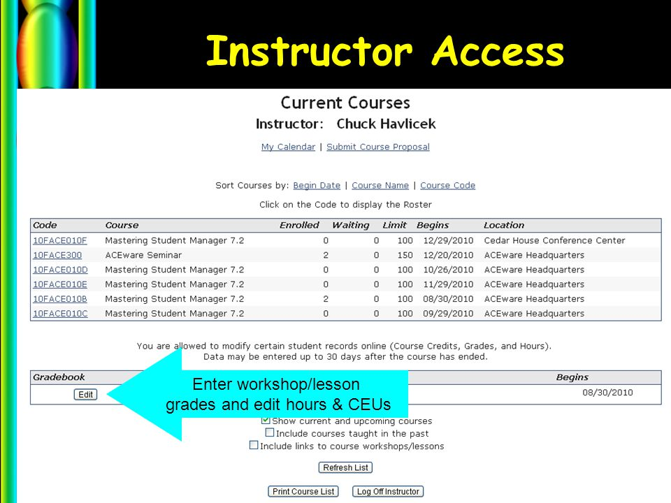 Instructor Access Enter workshop/lesson grades and edit hours & CEUs