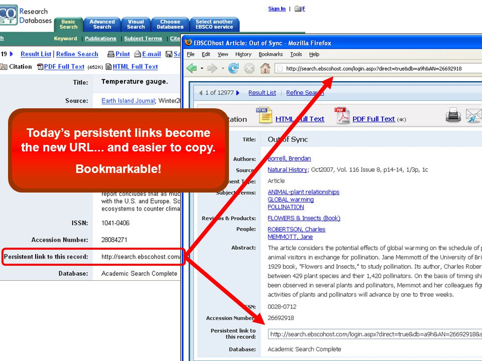 Today's persistent links become the new URL... and easier to copy. Bookmarkable!