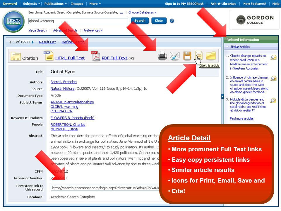 Article Detail More prominent Full Text links Easy copy persistent links Similar article results Icons for Print, Email, Save and Cite!