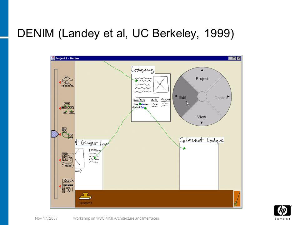 Nov 17, 2007Workshop on W3C MMI Architecture and Interfaces DENIM (Landey et al, UC Berkeley, 1999)