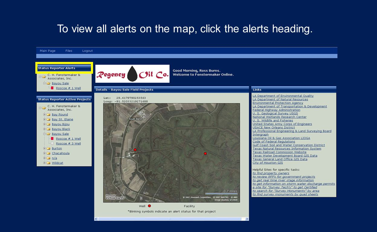 To view all alerts on the map, click the alerts heading.