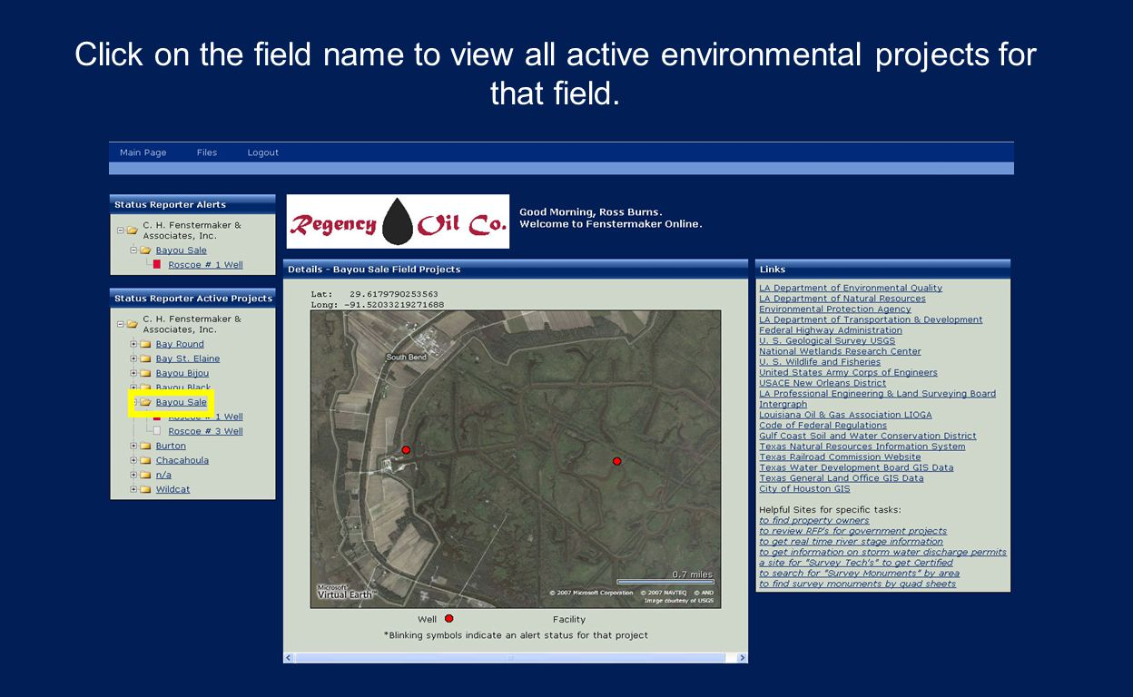 Click on the field name to view all active environmental projects for that field.