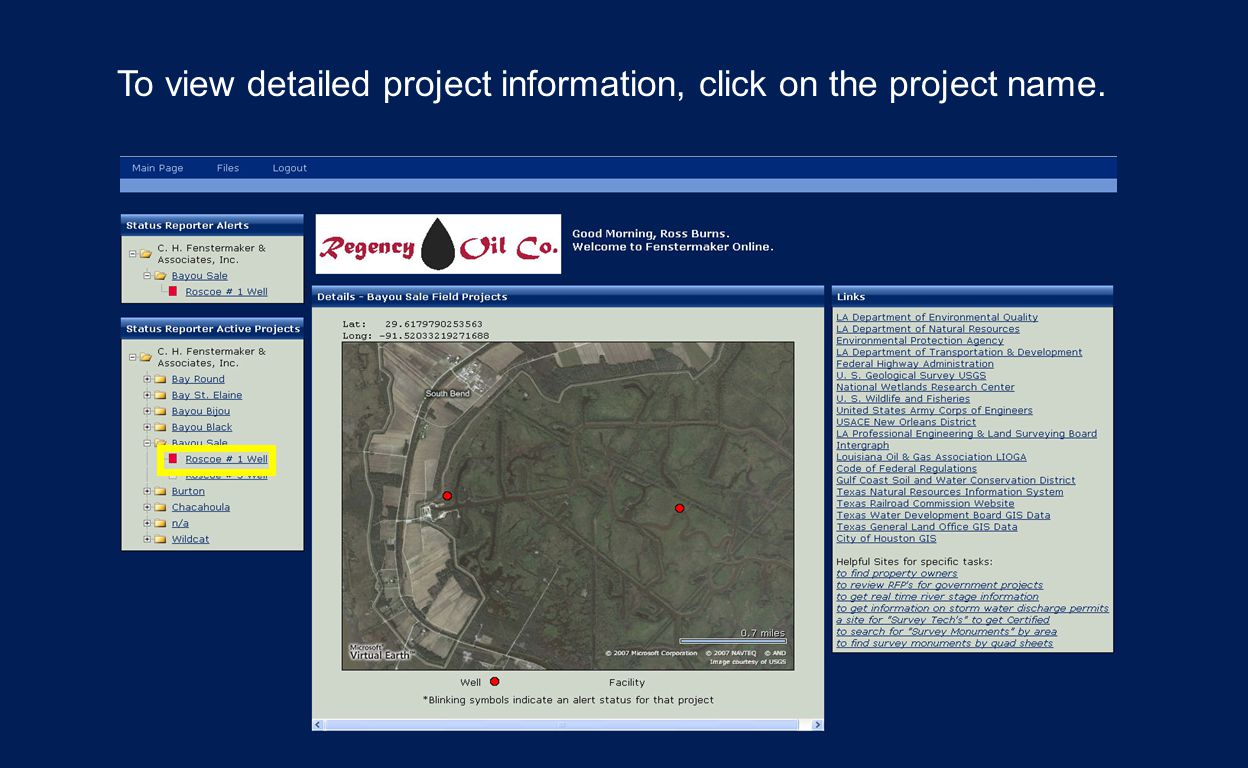 To view detailed project information, click on the project name.