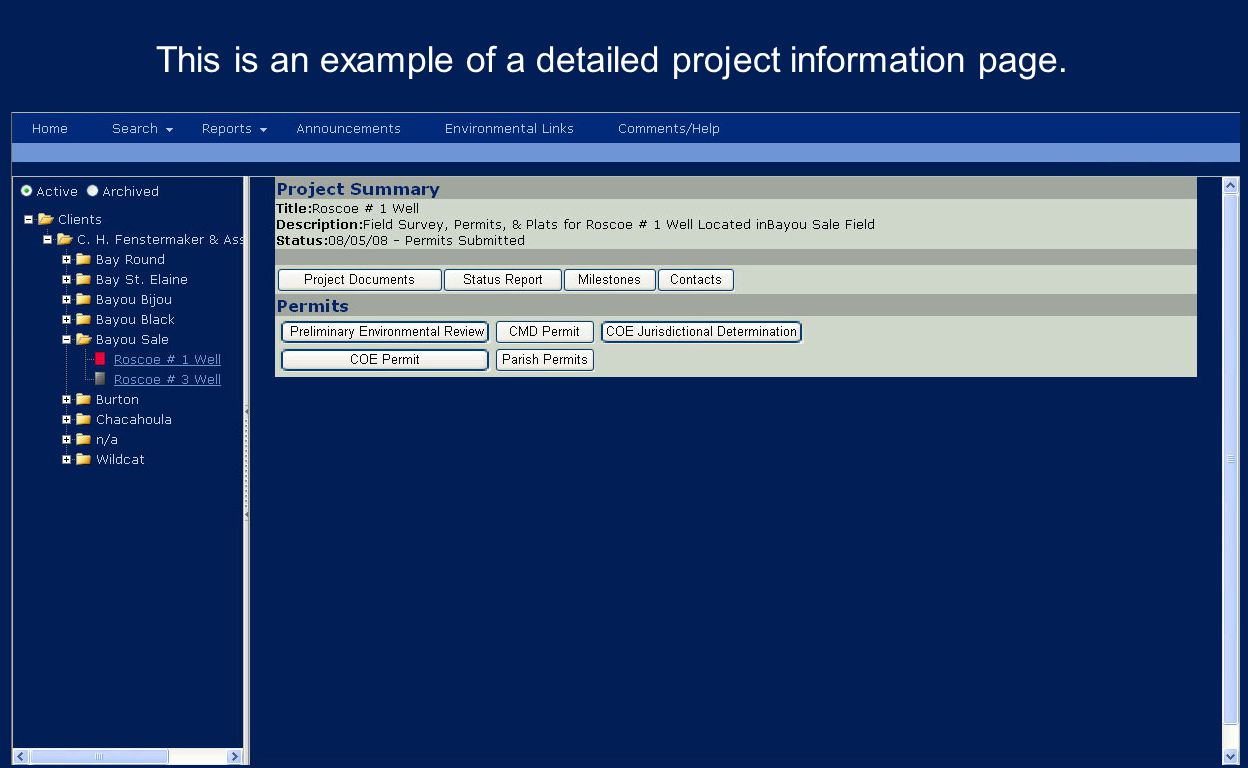 This is an example of a detailed project information page.