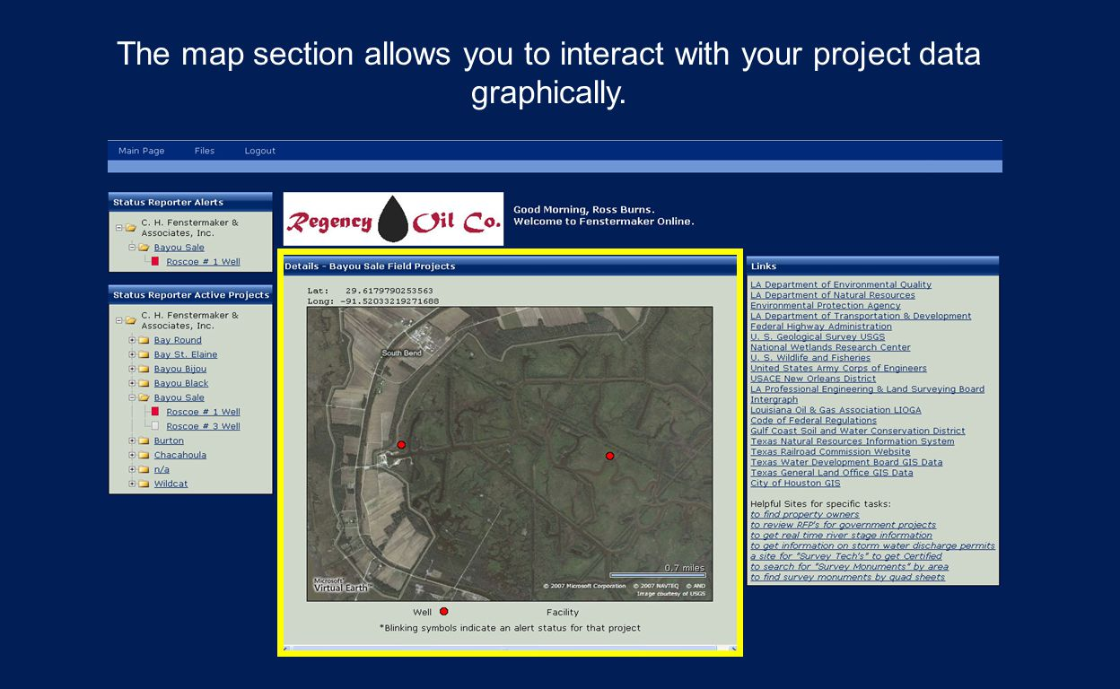 The map section allows you to interact with your project data graphically.
