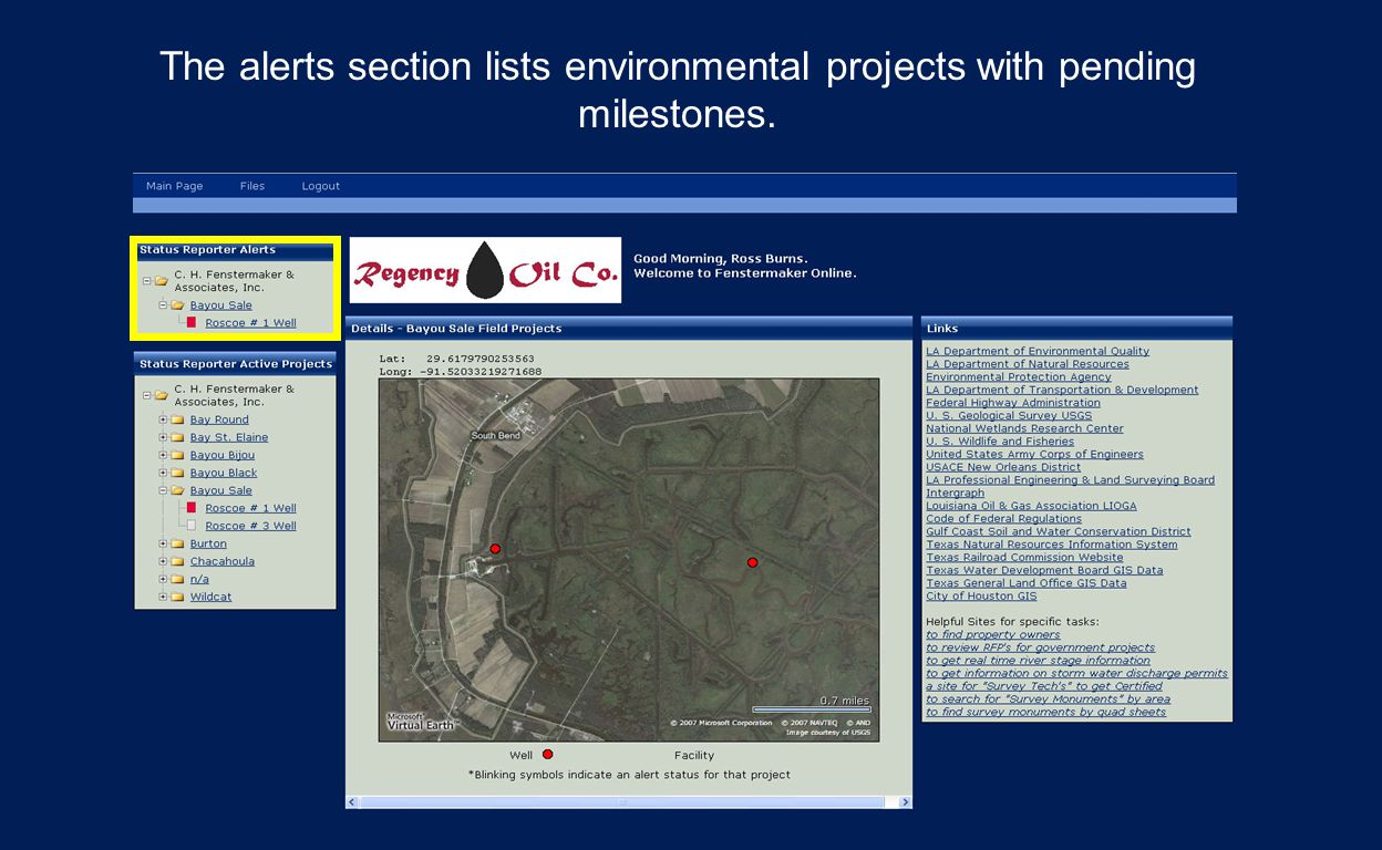 The alerts section lists environmental projects with pending milestones.
