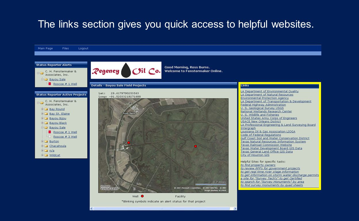 The links section gives you quick access to helpful websites.