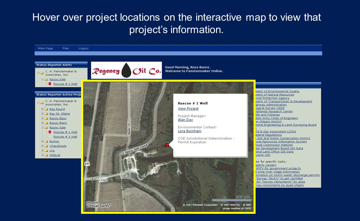 Hover over project locations on the interactive map to view that project's information.