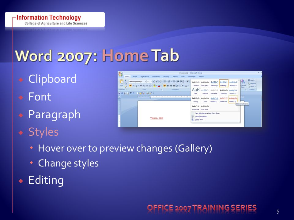  Microsoft Office Menu items…  Printer  Prepare  Send  Publish  Word Options  Offers ability to change options  Save – Save Files in this format: Word 97-2003 Document (permanently change )  Customize – Quick Access Toolbar  Popular, Display, Advanced, Add-ins, Trust Center, Resources 16